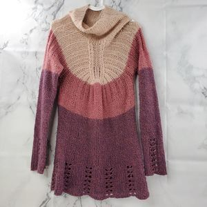 Anthropologie Color Block Open Knit Sweater